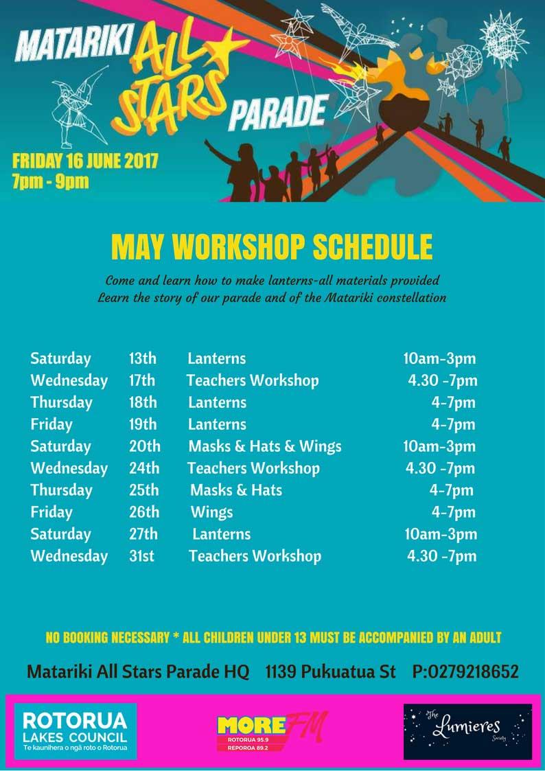 Workshop-SCHEDULE Matariki All Stars Parade - 16th June